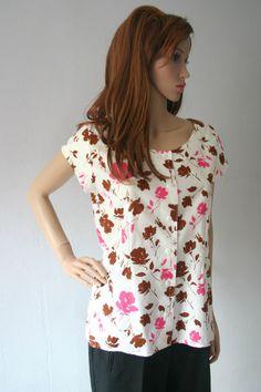 Vintage 80s Blouse UK 12 Pink Brown Rose Print Cap Sleeves Button Fastening