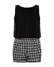Cameo Rose Black Contrast Check Playsuit  | New Look