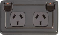 Double Power Point - Brown Rocker Switch (10 AMP)
