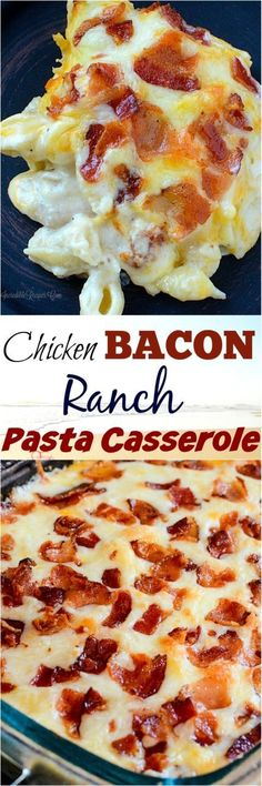 Homemade Chicken Bacon Ranch Pasta Casserole! This delicious dish is to easy to make and is perfect for this bust weeknight meals. This is the definitely of delicious, winter comfort food!