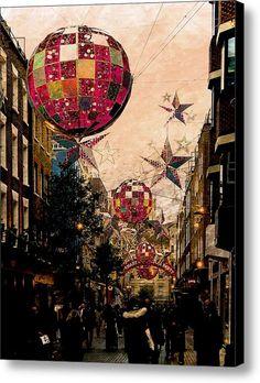 Carnaby Street Christmas Canvas Print / Canvas Art By Dorothy Berry-lound #carnabystreet #london  #interiordecor #printforsale