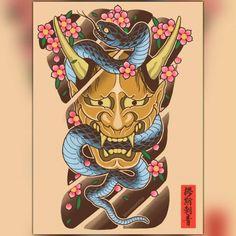 Hannya and snake back piece study Hannya Mask Tattoo, Hanya Tattoo, Demon Tattoo, Samurai Tattoo, Dark Tattoo, Japanese Tattoo Symbols, Japanese Tattoo Art, Vintage Mermaid, Mermaid Art