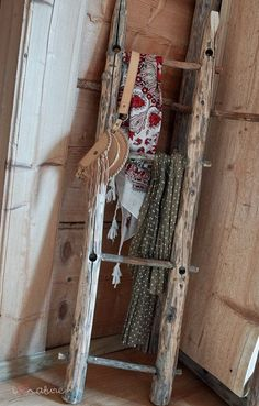 Ladder in corner.