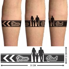 Voorkoms Mom Dad Hand Tribal (Hand Band Temporary Tattoo Two Design In Combo Mom Dad Tattoo Designs, Mom Dad Tattoos, Band Tattoo Designs, Armband Tattoo Design, Wrist Tattoos For Guys, Small Tattoos For Guys, Family Tattoos, Tattoo Dad, Armband Tattoos For Men