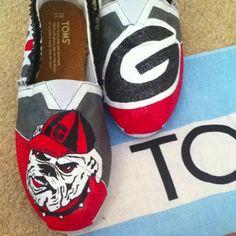 Hand painted GA Bulldog Toms