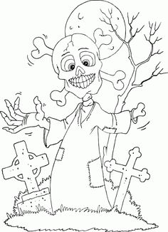 skeleton in cemetery coloring page - Coloring.com