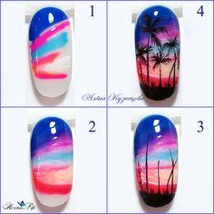 Line Nail Art, Nail Art Kit, Gel Nail Art, Pretty Nail Art, Beautiful Nail Art, Tropical Nail Art, Nail Art Designs Videos, Mermaid Nails, Beach Nails