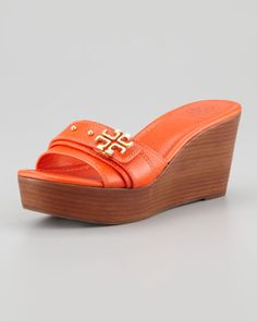 Elina Mid-Wedge Slide Sandal, Orange by Tory Burch at Neiman Marcus.
