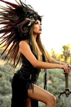 Headdress/MADE-TO-ORDER-Feather Mohawk/ Warrior Headdress/ Burning Man Headdress/ Horned Headdress/ Tribal Headdress/ African Headdress Burning Man, Mohawk Warrior, Style Tribal, Native American Headdress, Style Ethnique, Feather Headdress, Native American Women, Headgear, Headpieces
