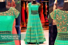 Let your clothes, be your #Reflection!  #Asopalav #Ahmedabad #FemaleFashion #IndianWeddings  http://www.saree.com/sea-green-net-anarkali-suit-with-cutdana-work
