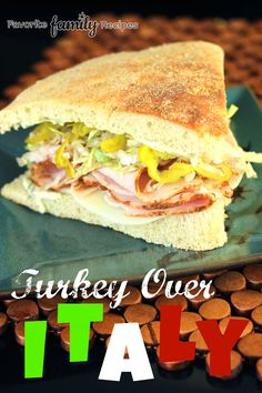 They make this delicious turkey on focaccia bread at my favorite sandwich place in Boise called Deli George. This is a great copycat recipe for their Turkey Over Italy. Turkey Recipes, Lunch Recipes, Breakfast Recipes, Cooking Recipes, Costco Recipes, Dinner Recipes, Sandwich Recipes, Deli Sandwiches, Turkey Sandwiches