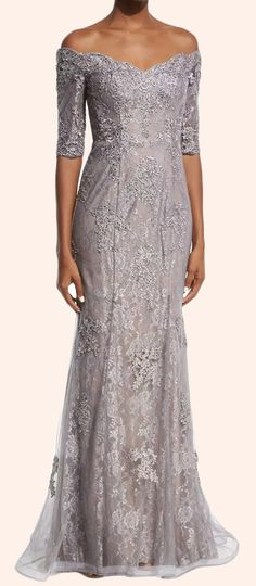 Off the Shoulder Half Sleeves Lace Mother of the Brides Dress Silver Formal Gown #dress #gown #prom #promdress #promgown #eveningdress #eveninggown #macloth #formaldress #formalgown
