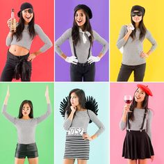 One shirt, six different costumes — last minute Halloween costumes FTW!