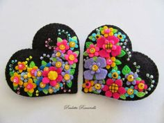 black heart with bright flowers
