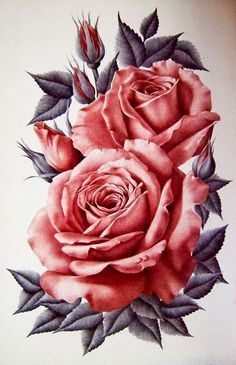 Details about Chart Needlework Embroidery DIY - Counted Cross Stitch Patterns - Elk Anthem Rose Zeichnung Tattoo, Flor Tattoo, Rose Drawing Tattoo, Plant Drawing, Rose Art, Flower Tattoo Designs, Flower Pictures, Flower Wallpaper, Beautiful Roses
