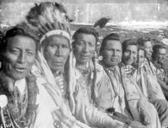 Left to right: Two Guns White Calf, Three Bears, Weasel Tail, Owen Heavy Breast, Big Wolf Medicine, and ??  [Blackfoot]