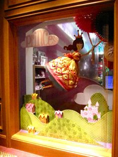 Window display princess - the idea of layered flats at the front could be adapted to different themes