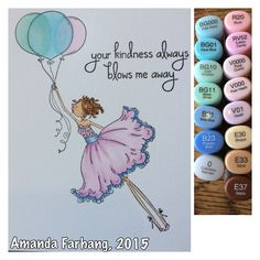 Colored by Amanda Farhang. This is a rubber  stamp from Stamping Bella, stamped onto Neenah Classic Crest 110lb card stock and colored with copic sketch markers.