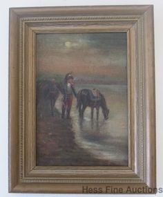 Fine 1890s Soldier Military Oil Painting Signed Illegibly J? Domien?? w/ Provenance