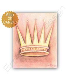 Cinderella's Crown Art, Baby Girl Nursery, Princess Wall Decor, Princess Nursery, Peach, Crown Art Print, Nursery decor girl, Princess decor
