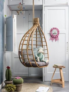 Gorgeous hanging chair is the perfect styling touch. Baby Room Decor, Nursery Decor, Kids Hanging Chair, Hanging Chairs, Kids Interior, Cool Kids Rooms, Jungle Room, Ikea Chair, Egg Chair