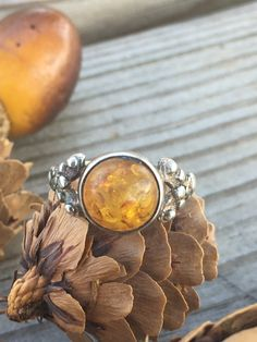 Baltic Amber Sterling Silver Ring SZ Solitaire Ring Gypsy Boho Soul Jewelry Berries and Flower Detail Round Bezel Set Stone Baltic Amber Sterling Silver Ring SZ Solitaire Ring Gypsy Boho Soul Jewelry Berries and Flower Detail Round Bezel Set Stone