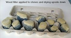 Painting Rock & Stone Animals, wood filler applied to stones must be dried upside down or the wood filler will lose its shape