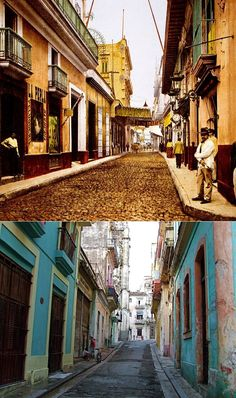 Then: This photo, taken in 1900, shows architecture that might look familiar to people who visit present-day Havana. Now: Some streets in Old Havana have been restored, but others have not.