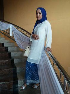 White top & blue songket skirt #hijab