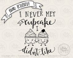 Cupcake SVG Cut File Hand Lettered by TheSmudgeFactoryLLC on Etsy