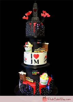 7-Tiered Cake Featuring Several New York City Themes