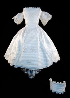 1860s Enfantine Dress Antique Eyelet 17in for Huret, Rohmer French Fashion Doll
