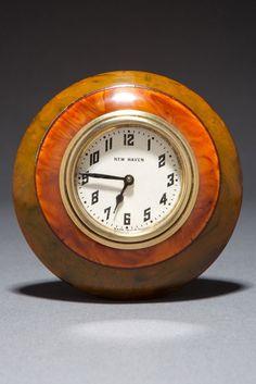 Art Deco Catalin Green + Tortoise Laminated New Haven Clock