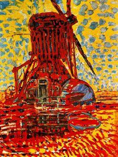 """Piet Mondrian - Mill in the sunlight - 1908. """"Un moulin dressé dans une campagne paisible fournit à Mondrian le prétexte d'une violente tache rouge ou la pulsation optique--née de l'affrontement calculé des teintes primaires--provoque une sorte d'éblouissement."""