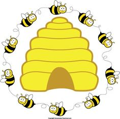 Preschool-bee-home-free-clipart-bee-clipart-beehive-bee-circle-2.jpg (591×587)