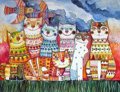 Sept chats optimistes - © 2010 A-Moscou-Chat - cat katze chat el gatto Painting Online Artworks
