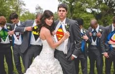 Groom and groomsmen with superhero shirts under tuxes! This is a MUST
