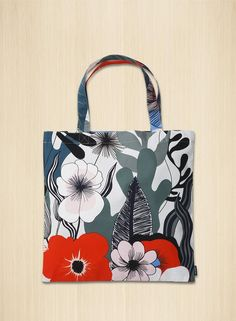 A heavyweight cotton tote bag in the new Kasvu print. Cotton Tote Bags, Reusable Tote Bags, Marimekko, Fashion Accessories, Shopping, Color, Products, Bags, Colour