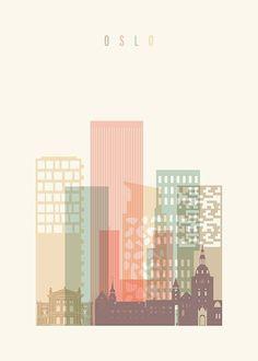 Oslo Skyline Plakat i gruppen Plakater hos Desenio AB Oslo, Collage Architecture, Vintage Architecture, Landscape Architecture, Wall Prints, Poster Prints, Buy Prints, Desenio Posters, Gold Poster