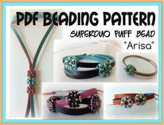 "Tutorial Puff Bead ""Arisa"" - Superduo or Twin Beads - Pdf Beading Pattern -  beaded pandora bead"