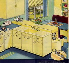 1940s Ivoire de Medici cabinets and sink with soft blue floor and countertops. The countertop and flooring surely were linoleum. Light colors were not possible for early-days linoleum because of the materials and methods used. As a result, original linoleum floors were usually pretty rich in tone. Retro Renovation