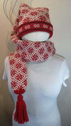 Super Long stocking cap with long tail for adult scarf by LanaNere