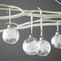 Personalised Printed Feather Bauble by Button Box Cards at notonthehighstreet.com