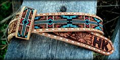 Call Hills Edge Leather & Beadwork at Make a statement with custom leather accessories. In-stock items & leather accessories are available. Loom Bracelet Patterns, Seed Bead Patterns, Beading Patterns, Beading Ideas, Beaded Hat Bands, Beaded Belts, Beaded Jewelry, Cowgirl Belts, Western Belts