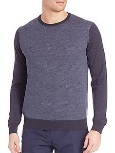 Corneliani Textured Wool Sweater - Medium Blue - Size