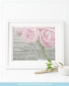 "Pastel pink and gray peony flower photography print - ""Spring Wealth"" is one of the most popular prints in my Etsy shop. Available in sizes from 8""x10"" to 24""x30"""