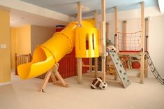 Indoor playground for my kids since the weather here is always too hot to play outside in the summer Playroom Design, Kids Room Design, Playroom Decor, Playroom Ideas, Basement Ideas, Kids Basement, Kid Decor, Basement Makeover, Indoor Playroom