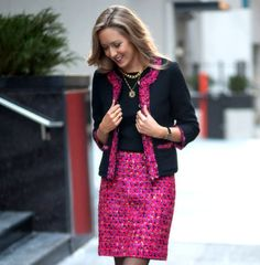 Skirt and Jacket: Kate Spade  |  Coat: Asos  |  Shoes: Charles David  |  Sweater: Theory  |  Necklace ('M'): Jane Basch...