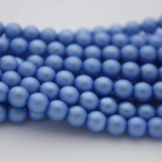 25 Czech Glass Pearl Beads in Baby Blue Matte  by ThisPurplePoppy