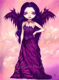 Violet Angel purple sunset fairy art print by Jasmine Becket-Griffith 8x10